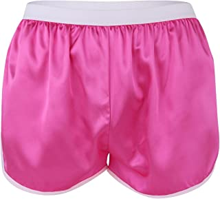 inlzdz Mens Silky Satin Summer Beach Shorts Casual Lounge Sports Boxer Briefs Short Pants