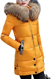 Macondoo Women Cotton-Padded Slim Fit Winter Outwear Hoodie Thick Down Coat