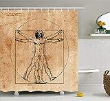 Afagahahs Shower Curtains Human Anatomy Medieval Vitruvian Man Crosshatching Famous Italian Painting Renaissance Body Art Sepia Long Bath Curtain Hooks Baththroom Decoration