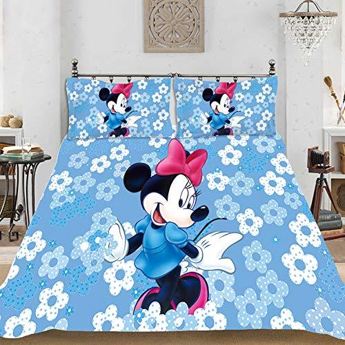 SSLLC Disney Mickey Mouse - Juego de cama de 2/3 piezas, funda de edredón + funda de almohada, 100% poliéster, diseño digital de estampado de Mickey Mouse, microfibra poliéster, A06, 220*260CM
