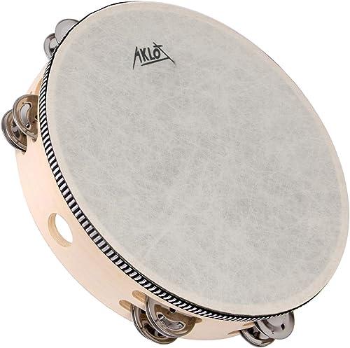 "AKLOT 10""Tambourin Tambour 8 paires Double Row Metal Bell Jingles Hêtre Percussion Instrument éducatif musical pour P..."