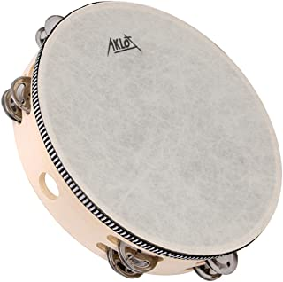 """AKLOT 10"""" Tambourine Hand Held Drum 8 Pairs Double Row Metal Bell Jingles Beech Percussion Musical Educational Instrument ..."""