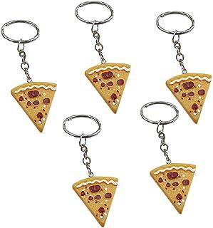naicasy 5PCS Kette Schlüssel Ringe Fake Pizza Charm Tasche Anhänger Schlüsselanhänger für Frauen Damen Tasche Portemonnaie Handy Dekoration Zubehör