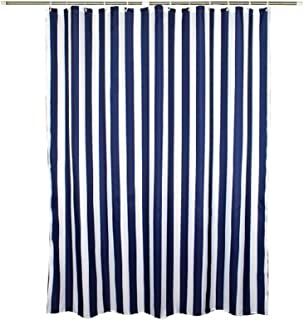 Zigzag Park Navy Style Blue White Stripe Fabric Shower Curtain Waterproof, Vertical Stripes, 70 inches Wide by 78 inches Long