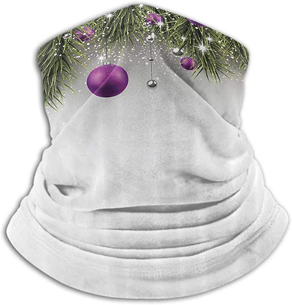 Neck Gaiter Women Christmas Cold Weather Face Motorcycle Scarf Tree with Tinsel and Ball with Present Wrap Ribbon Celebration Picture Purple Grey Green