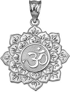 14K White Gold Om Lotus Mandala Charm Pendant