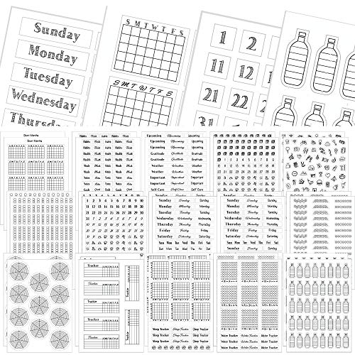 Simple Productivity Weekly Planner Stickers - 30 Sheets of Writable and Clear Stickers - Mini Calendars, Habit Tracker, Weekdays, Numbers Stickers - Accessories and Supplies for Bullet Dotted Journals