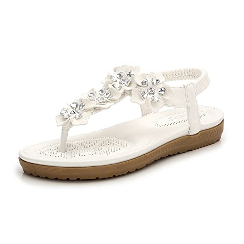 a4d7845dc5e9de Meeshine Womens Flat Sandals Summer Rhinestone Comfort Bohemian Flip Flop  Shoes