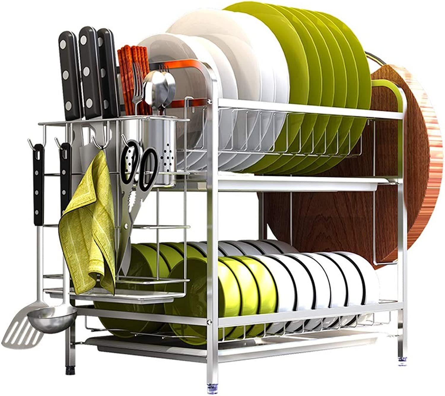 Stainless Steel Kitchen Storage Rack 2-Layer Dish Rack Cutting Board Rack