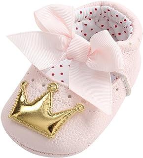 WINJIN Chaussures bébé Filles Nouveau-né Chaussons Cuir Souple Couronne Princesse Chaussures Premiers Pas Respirant Chauss...