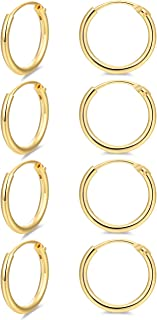 Hoop Earring 14K White Gold Plated S925 Sterling Silver Endless Small Hoop Earring Set for Cartilage Nose Lip Rings 8mm-16mm