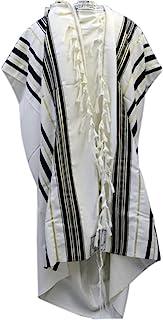 Black & Gold 100% Wool Kosher Tallit Prayer Shawl Made by Mishcan Hathelet