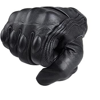 Large WFX Goat Vented Leather Mens Motorcycle Gloves Perforated Cruiser Protection