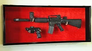 Guns: Rifle Handgun Display Case Wall Rack Cabinet w/ UV Protection -Lockable, Cherry