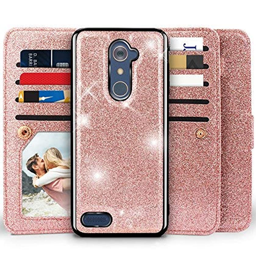ZTE Imperial Max Z963U Case,ZTE Blade Max 3 Z986/Zmax Pro Z981/Max XL N9560/Carry Case, Miss Arts [Detachable] Magnetic Glitter Wallet Case W/Car Mount, 9 Slots Cover for ZTE Z981 -Rose Gold