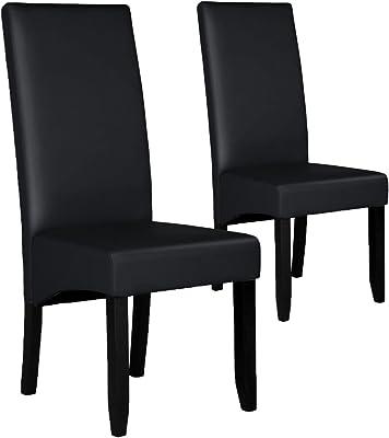 Menzzo Paris – Juego de 2 sillas Poliuretano Negro 63 x 47 x 108 cm