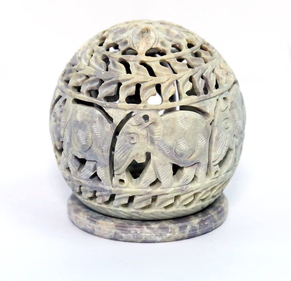 Amazon Com Artist Haat Handcarved Soapstone Round Small Tealight Candle Holder With Elephant Shaped Carving Work Beige 3 5 X4 X3 5 Inch Home Kitchen