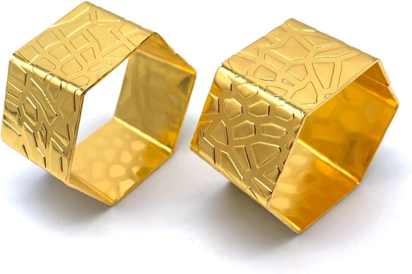 2 Pcs Hexagon Popular brand Napkin Ring Holder OFFicial store Buckle Metal St