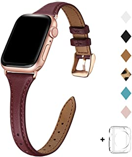 Bestig Leather Band Compatible for Apple Watch 38mm 40mm 42mm 44mm, Slim Thin Genuine Leather Replacement Strap for iWatch Series 5/4/3/2/1 (Wine Band+Rosegold Adapter, 42mm 44mm)