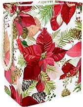 Laundry Bag Christmas Winter Poinsettia Flowers Large Storage Bin Storage Basket Clothes Laundry Hamper Toy Storage Bin