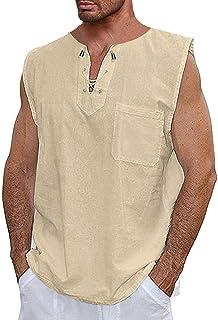 Runcati Mens Casual Cotton T Shirt Sleeveless Beach Hippie V Neck Yoga Tees Plain Drawstring Summer Tank Tops