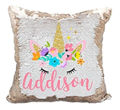 Amazon Com Personalized Mermaid Reversible Sequin Pillow Custom Unicorn Sequin Pillow For Girls Champagne Gold Kitchen Dining