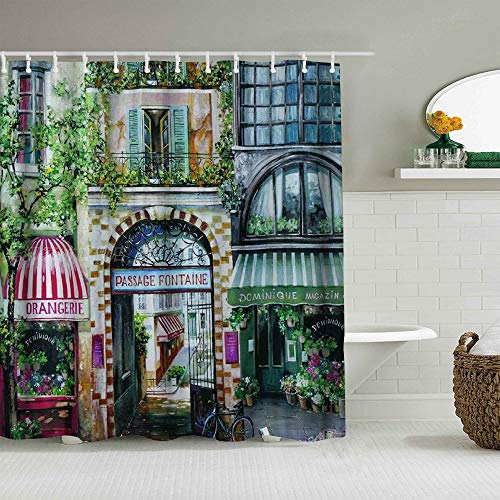 ALLMILL Shower Curtain Image of European Classic French City Garden Corner Cafe Waterproof Bath Curtains Hooks Included - 72 x 72 inches Bathroom Decorative Ideas Polyester Fabric Accessories