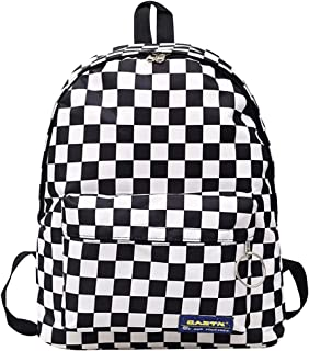 Aisa Choice Canvas Checkerboard Backpack Large Capacity Schoolbag Rucksack Casual Travel Daypack Shoulder Bag