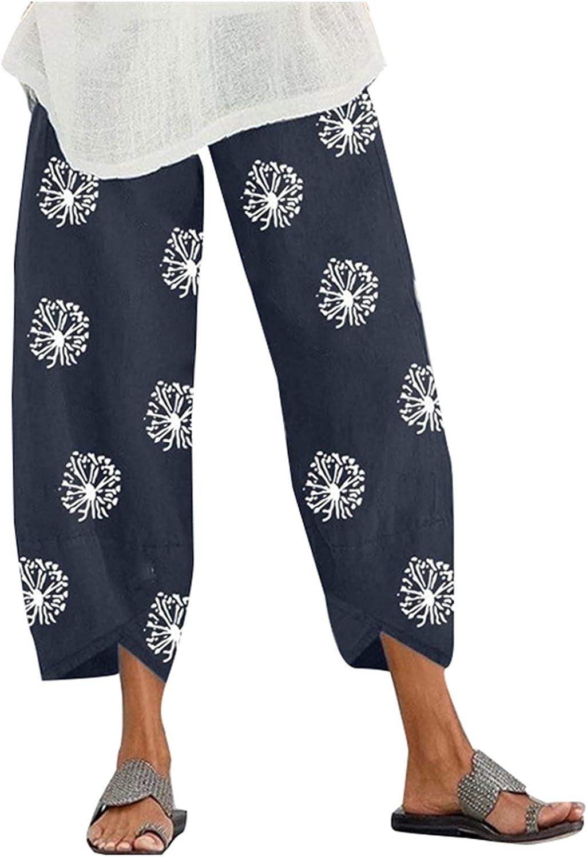JINRS Cotton Linen Pants for Womens, 2021 Summer Boho Floral Wide Leg Straight Casual Elastic Waist Capris Cropped Pants