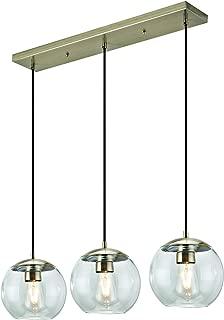 Addington Park 31782 Roques Collection 3-Light Glass Globe Pendant, Antique Brass