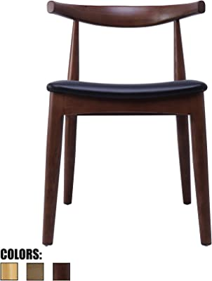 2xhome Espresso Dark Wood PU Leather Cushion Seat Elbow Chair Mid Century Modern Contemporary Dining Chairs Desk Armless No Arm Side Hans Wegner for Living Room Bedroom Kitchen with Open Back Kennedy