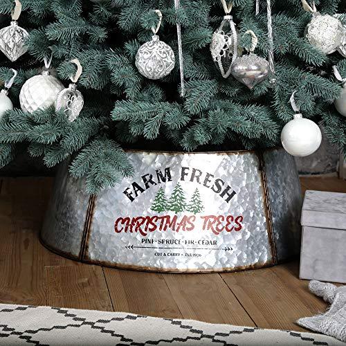 Hallops Galvanized Tree Collar - Large to Small Christmas Tree. Adjustable Metal Skirt, Christmas Decor