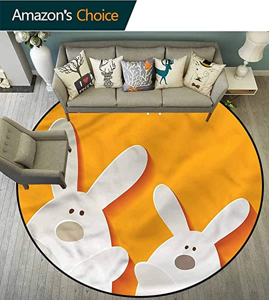 RUGSMAT Easter Modern Flannel Microfiber Non Slip Machine Round Area Rug Happy Easter Bunnies Living Room Bedroom Study Soft Carpet Diameter 24
