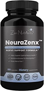 NeuraZenX Nerve Pain Relief Supplement - The Most Comprehensive Daily High Potency Neuropathy and Nerve Support Formula for Neuropathy, Shingles, Fibromyalgia - 100% Natural & GMO Free - 60 Caps