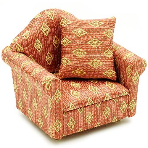 alles-meine.de GmbH 1 Stück _ Miniatur - Sessel mit Kissen -  rot weinrot - Gemustert  - für Puppenstube Maßstab 1:12 - rotbraun / beige - gestreift - Sofasessel - Relaxsessel ..