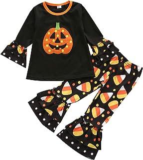 T TALENTBABY Kleinkind Halloween Outfit Claus Säugling Rüschen Kürbis T-Shirt Tops  Schlaghose 2pcs Baby Spielanzug Nightmare Bodysuit Strampler