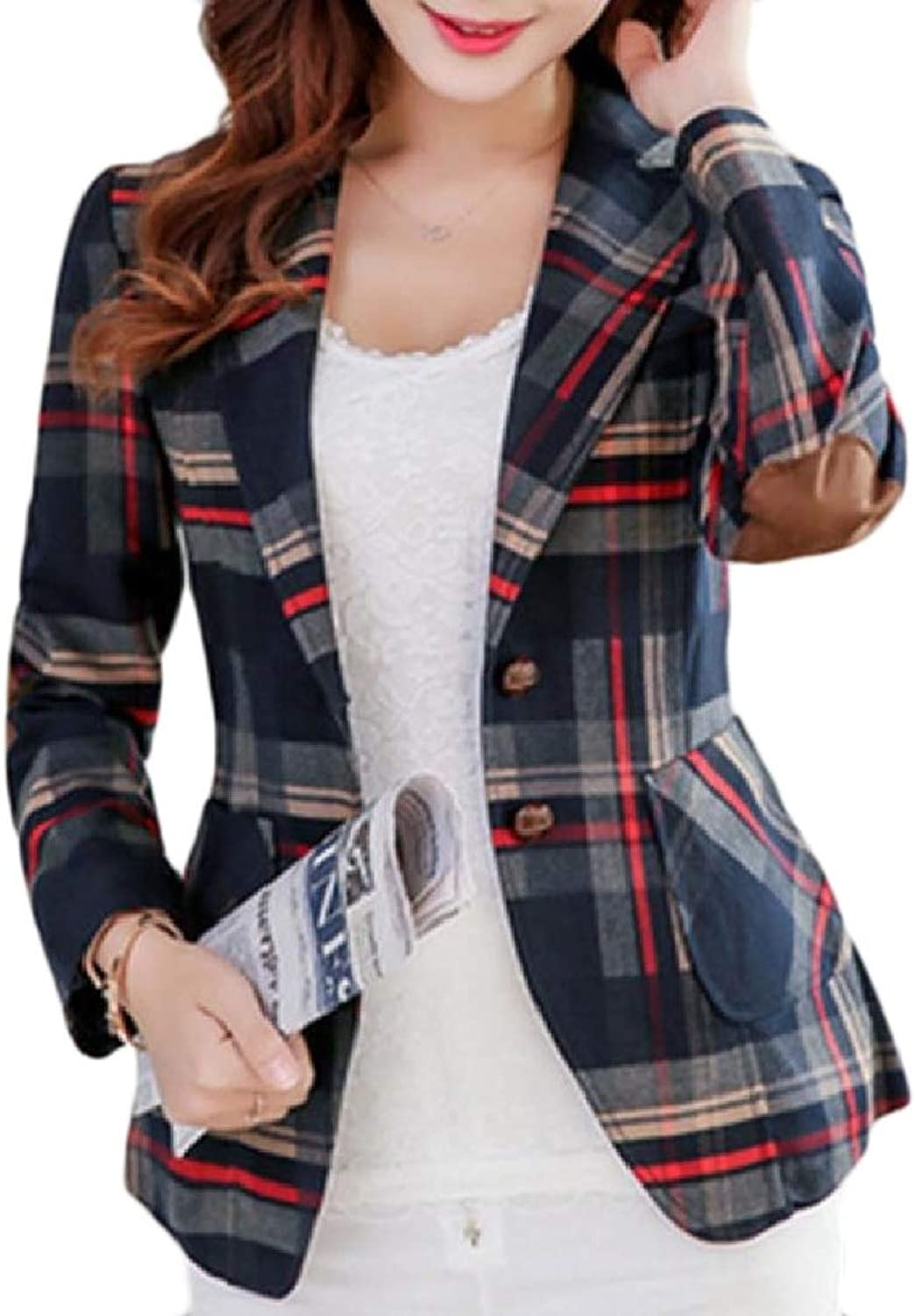 color&W Womens Patch Mini PlusSize Thin Buttons Lapel Plaid Blazer Coats