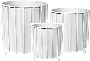 3er SET: Blumentopf im Gestell Metall Ständer Übertopf Planzen Kübel Deko Modern Design Rund (Weiß)