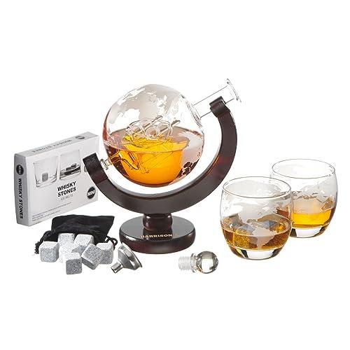 Ensemble Harrison's Finest - Avec carafe à whisky de 850ml, bouchon en verre et 2verres gravés - Motif de planète terre - Entonnoir en acier inoxydable - 9pierres à whisky