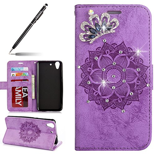 Uposao Kompatibel mit Lederhülle Huawei Y6 II Handyhüllen Kristall Glitzer Strass Ledertasche Henna Mandala Blumen Muster Lederhülle Brieftasche Flip Case Cover Klapphülle mit Kartenfach,Lila