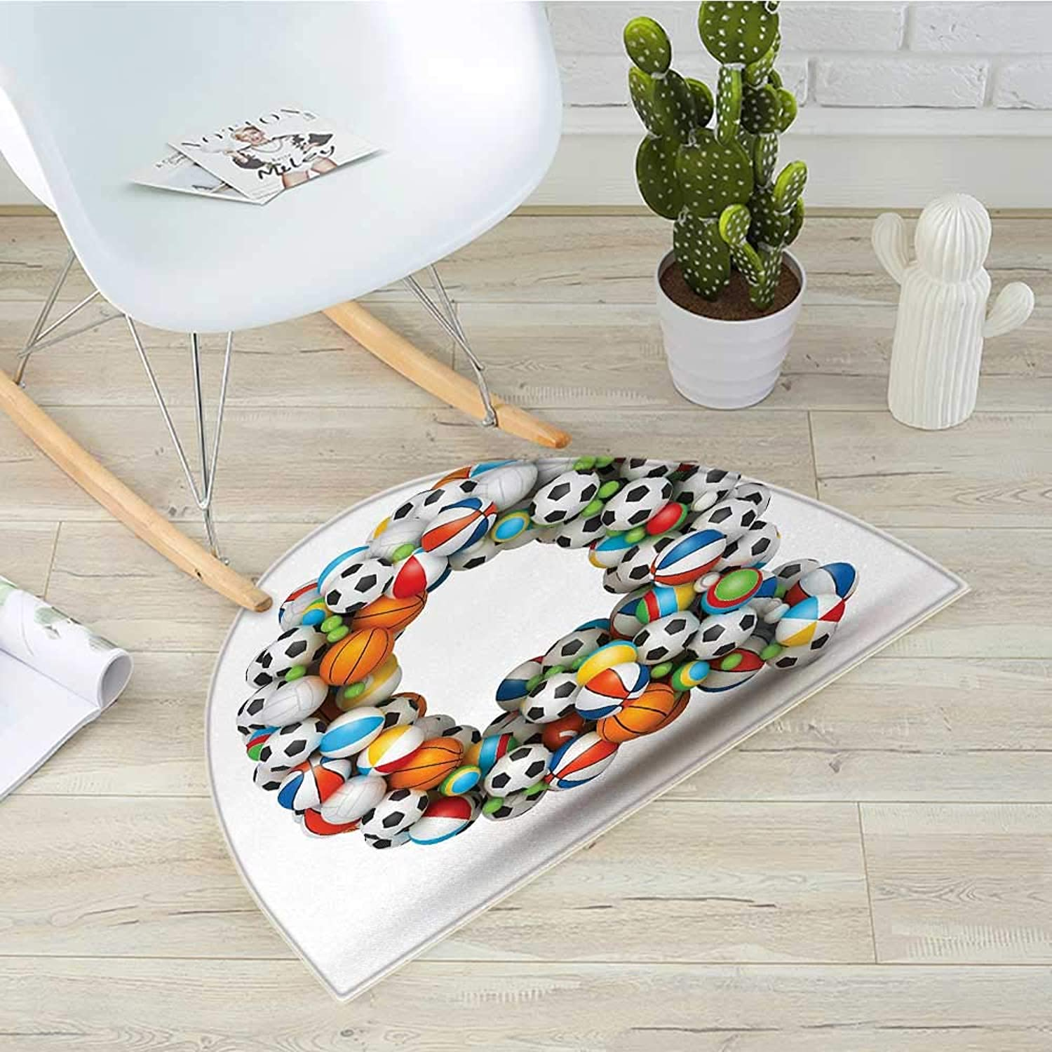 Letter Q Semicircle Doormat Typographic Letter Font Design with Various Gaming Balls Athletic Kids Teamplay Halfmoon doormats H 35.4  xD 53.1  Multicolor