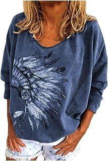 catmoew Camisetas Mujer Manga Larga con Estampado Vintage Casual Camisas Originales Basicas Blusas De Punto Anchas Cuello ...