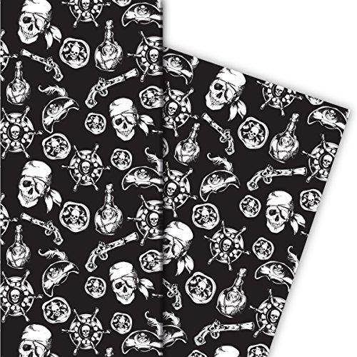 Kartenkaufrausch Cooles Piraten Geschenkpapier Set 4 Bogen, Dekorpapier mit Totenkopf und Co, schwarz, für tolle Geschenkverpackung, Musterpapier zum basteln 32 x 48cm