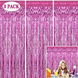 Tifeson Pink Foil Fringe Curtains Backdrop, 3 Pack 3.2 x 8.3 ft Tinsel Metallic Curtain for Birthday Baby Shower Bachelorette Bridal Shower Wedding Party Decorations