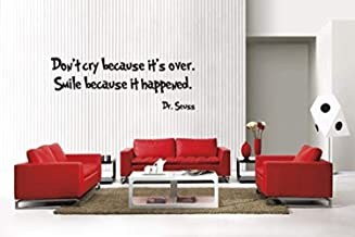 Dr Seuss Don't Cry Because It's Over Inspirational Art Quote Nursery Baby Saying Love Kids Bedroom Wall Decals Mural Decor Vinyl Sticker SK7804