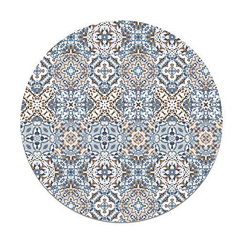 Panorama Alfombra Vinílica Redonda Baldosa Hidráulico Oriental Azul 150x150 cm - Alfombra Cocina Vinilo - Alfombra Salón Antideslizante e Ignífuga - Alfombras Grandes - Alfombras PVC
