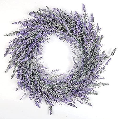 SHACOS 45cm Couronne de Fleurs Decoration Maison Couronne Lavande Feuilles Vertes Printemps Artificielles Guirlande Suspendue pour la Décoration Murale Fenêtre