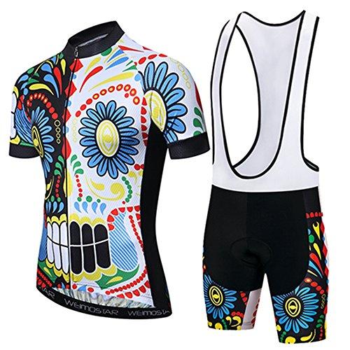 Cycling Jersey Short Sleeve Men MTB Bike Shirt Top Clothing Youth Road Bicycle Bib Shorts Padded Set Outfit Black White Skull Size L