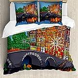 ABAKUHAUS Ámsterdam Funda Nórdica, Puente de la Noche Ciudad de los Canales, Estampado Lavable, 3 Piezas con 2 Fundas de Almohada, 200 cm x 200 cm - 80 x 80 cm, Multicolor