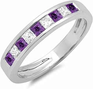 Dazzlingrock Collection 10K Gold Princess Cut Amethyst & White Diamond Ladies Anniversary Wedding Band Stackable Ring